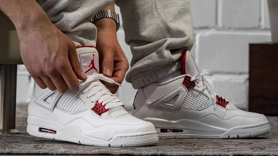 Jordan 4 Metallic Pack White Red On Foot