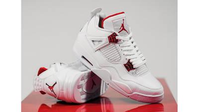 Jordan 4 Metallic Pack White Red On Table