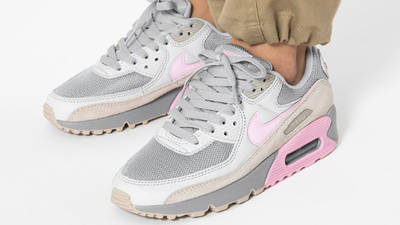 Nike Air Max 90 Vast Grey Pink On Foot Front Side