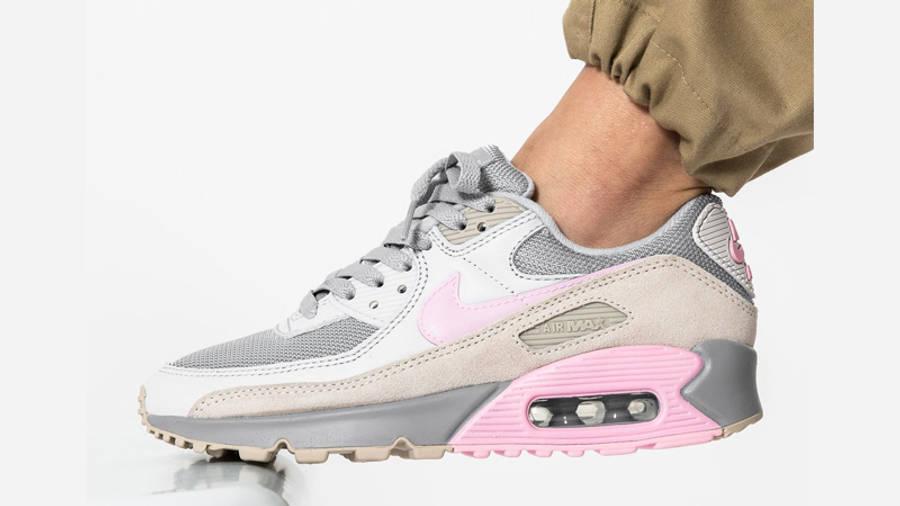 Nike Air Max 90 Vast Grey Pink On Foot Side 1