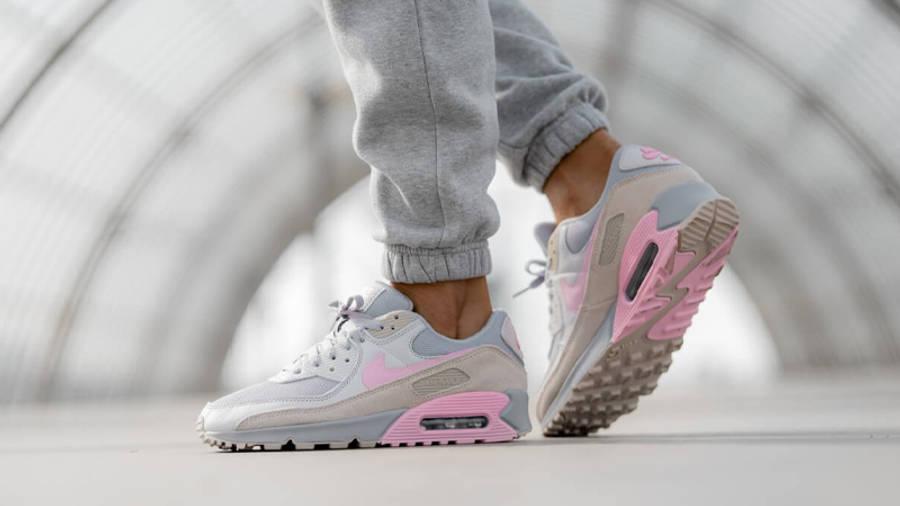 Nike Air Max 90 Vast Grey Pink On Foot Side