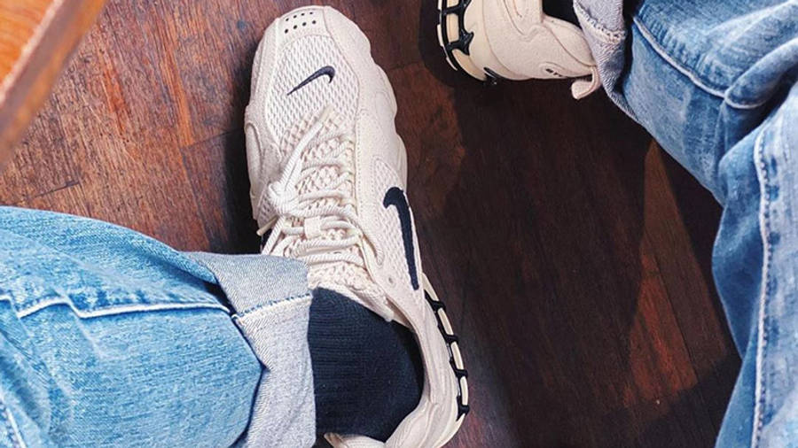 Stussy x Nike Air Zoom Spiridon Cage 2 Fossil On Foot