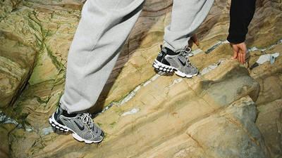 Stussy x Nike Air Zoom Spiridon Caged Black White CU1854-001 on foot