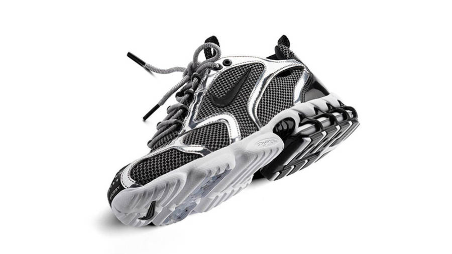 Stussy x Nike Air Zoom Spiridon Caged Black White CU1854-001 side