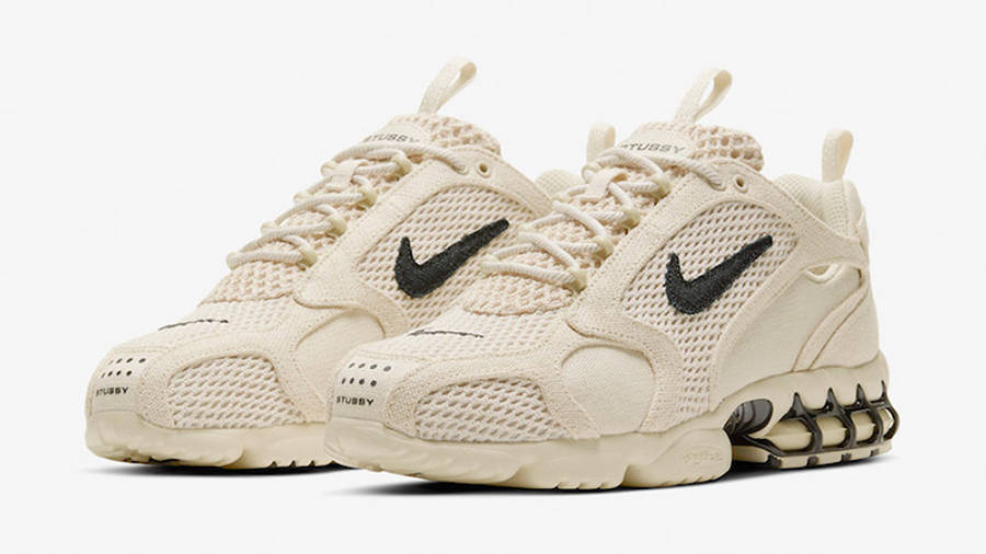 Stussy x Nike Air Zoom Spiridon Caged Fossil CQ5486-200 front