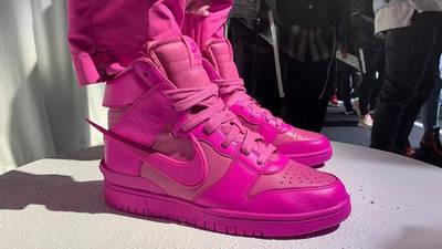 AMBUSH x Nike Dunk High Lethal Pink CU7544 600 on foot side