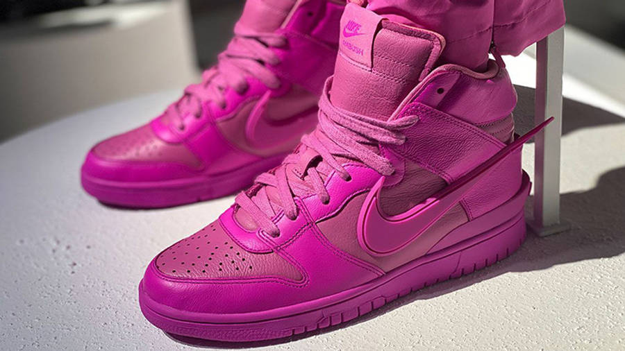 AMBUSH x Nike Dunk High Lethal Pink CU7544 600 on foot