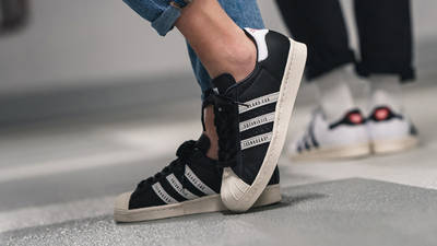 Human Made x adidas Superstar Black White on foot front