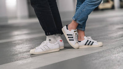 Human Made x adidas Superstar White Black on foot