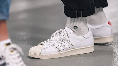Human Made x adidas Superstar White on foot