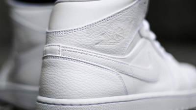 Jordan 1 Mid Triple White Back Closeup