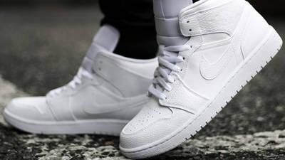 Jordan 1 Mid Triple White On Foot