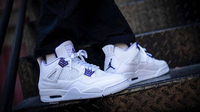 Jordan 4 Court Purple on foot side