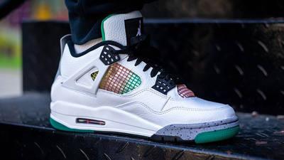Jordan 4 Rasta AQ9129-100 on foot closeup