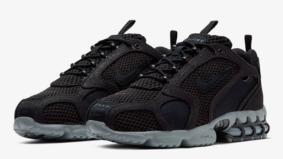 Stussy x Nike Air Zoom Spiridon Cage 2 Black Grey CD0461-007 front