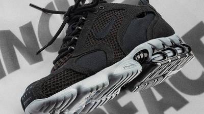 Stussy x Nike Air Zoom Spiridon Cage 2 Black Grey Lifestyle Side