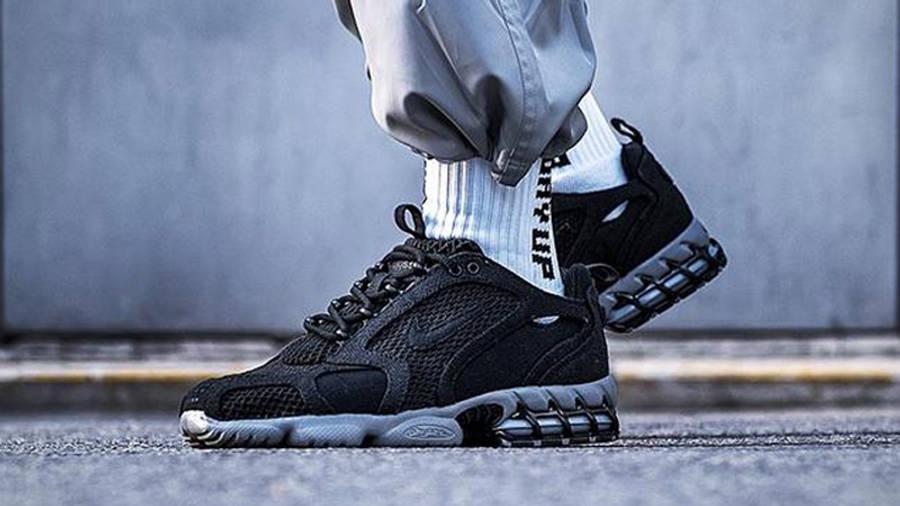 Stussy x Nike Air Zoom Spiridon Cage 2 Black Grey On Foot