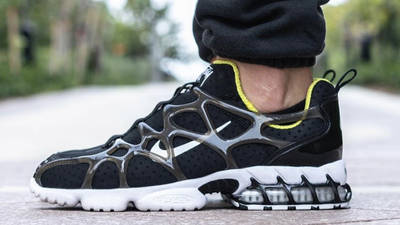 Stussy x Nike Air Zoom Spiridon KK Black On Foot Side