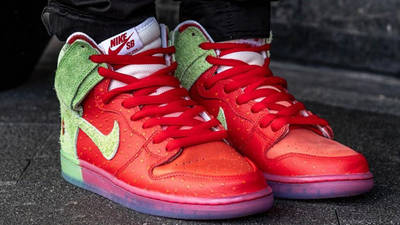 Todd Bratrud x Nike SB Dunk High Strawberry Cough Red On Foot Front