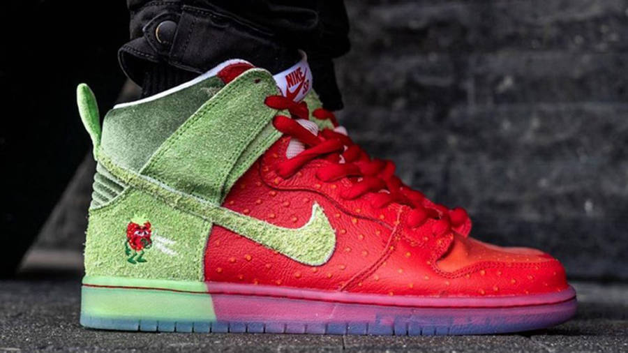 Todd Bratrud x Nike SB Dunk High Strawberry Cough Red On Foot Side 1