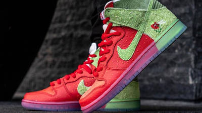 Todd Bratrud x Nike SB Dunk High Strawberry Cough Red On Foot Side