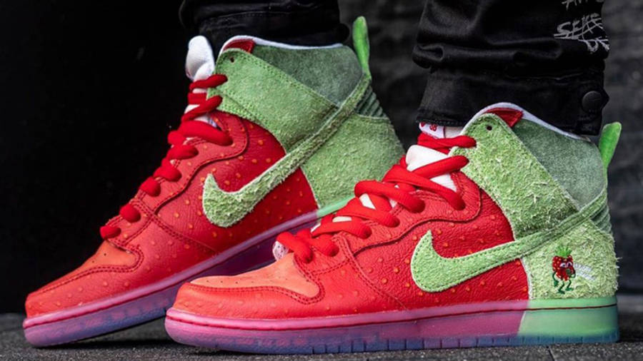 Todd Bratrud x Nike SB Dunk High Strawberry Cough Red On Foot