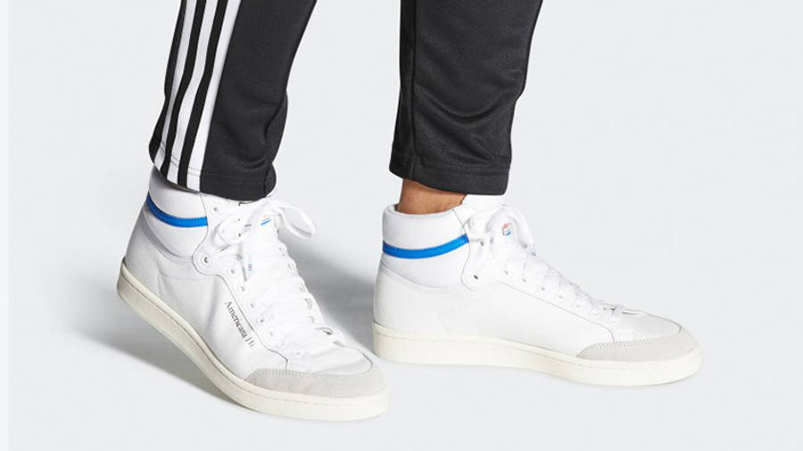 adidas Americana Hi White Glory Blue EG5522 on foot