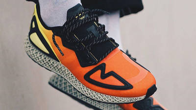 adidas ZX 2K 4D Solar Yellow Red On Foot Front Top