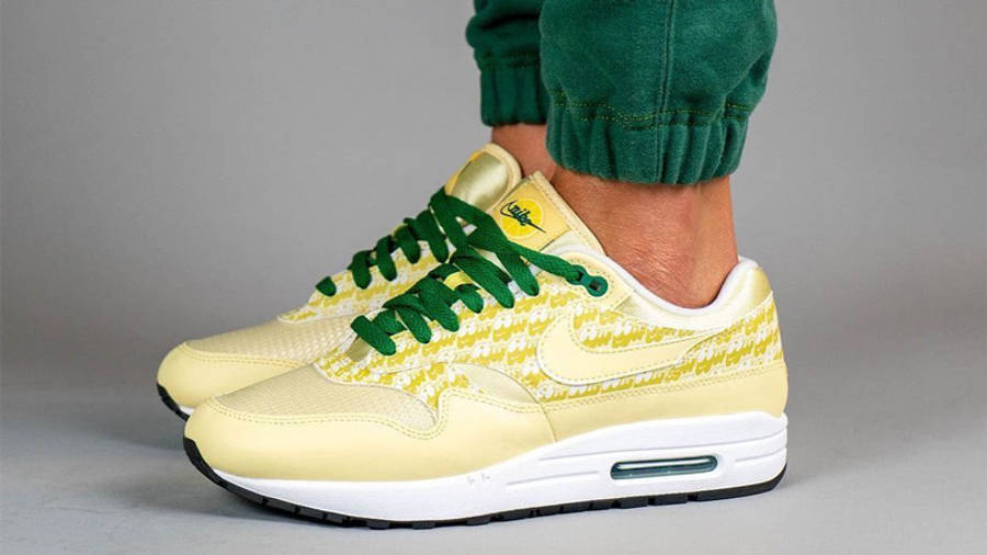 Nike Air Max 1 Powerwall Lemonade On Foot Side