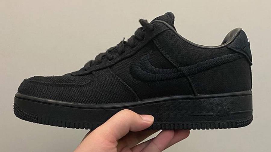 Stussy x Nike Air Force 1 Black In Hand