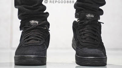 Stussy x Nike Air Force 1 Black On Foot Front