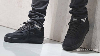 Stussy x Nike Air Force 1 Black On Foot Side