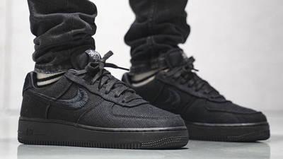 Stussy x Nike Air Force 1 Black On Foot