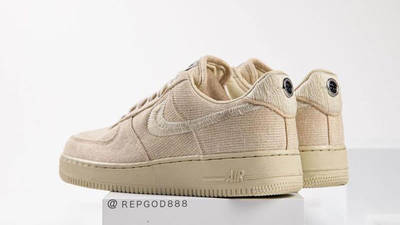 Stussy x Nike Air Force 1 Fossil Stone back tilted