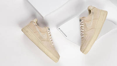 Stussy x Nike Air Force 1 Fossil Stone from top side by side