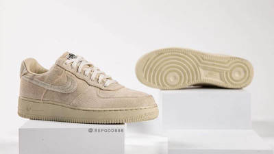 Stussy x Nike Air Force 1 Fossil Stone front and sole