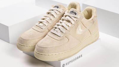 Stussy x Nike Air Force 1 Fossil Stone front side