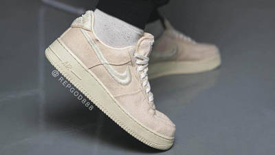 Stussy x Nike Air Force 1 Fossil Stone on foot back