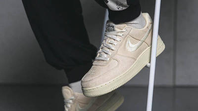 Stussy x Nike Air Force 1 Fossil Stone on foot closeup