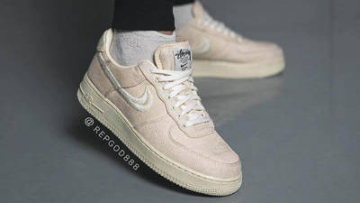 Stussy x Nike Air Force 1 Fossil Stone on foot side