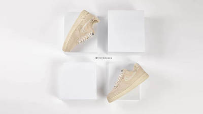Stussy x Nike Air Force 1 Fossil Stone on foot top