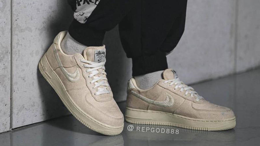 Stussy x Nike Air Force 1 Fossil Stone on foot