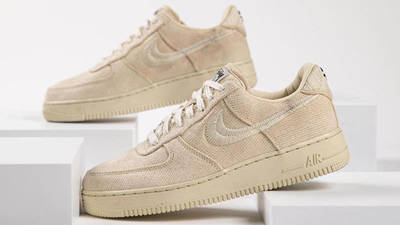 Stussy x Nike Air Force 1 Fossil Stone side closeup