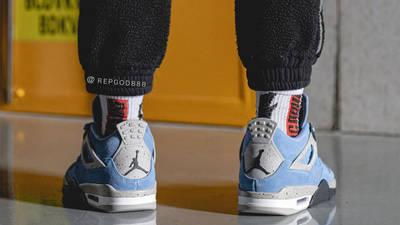 Jordan 4 University Blue On Foot Back