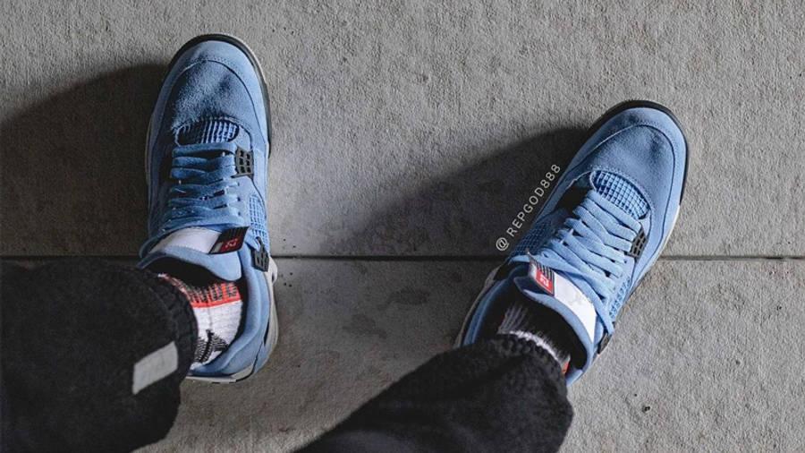 Jordan 4 University Blue On Foot Top