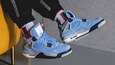 Jordan 4 University Blue On Foot
