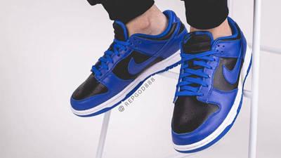 Nike Dunk Low Retro Hyper Cobalt Black On Foot Front