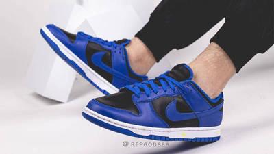 Nike Dunk Low Retro Hyper Cobalt Black On Foot Side