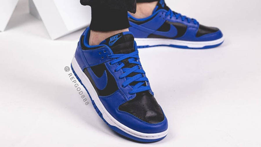 Nike Dunk Low Retro Hyper Cobalt Black On Foot