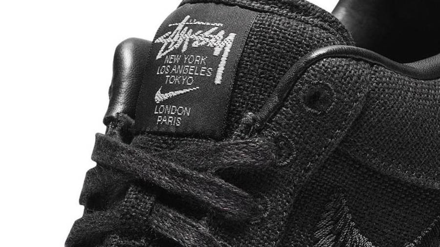 Stussy x Nike Air Force 1 Black Closeup
